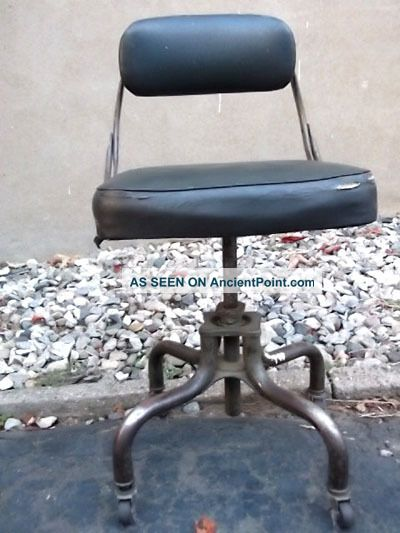 Do More - Leather Machine Age Industrial Office Task Chair Stool Steampunk 1900-1950 photo
