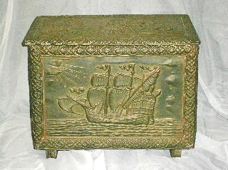 Antique Copper Trunk Ship Sea Art Depiction Treasure Chest photo