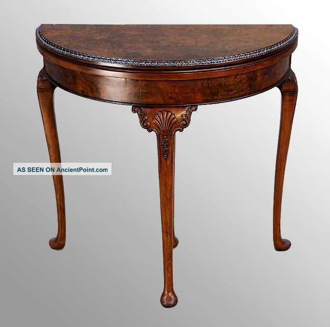 15851 Antique Burl Walnut Chippendale Carved Game Table 1900-1950 photo