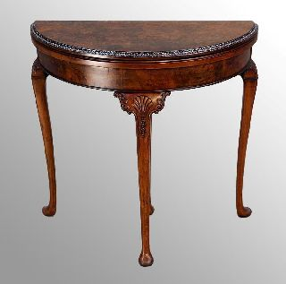 15851 Antique Burl Walnut Chippendale Carved Game Table photo