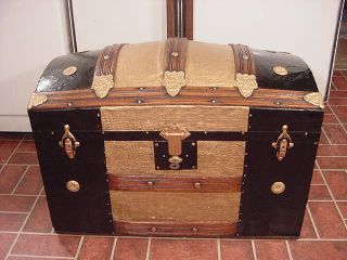 Refinished Dome Top Steamer Trunk Antique Chest W/working Lock & Key photo
