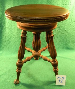Old Classic Antique Claw Eagle Talon Grasping Glass Ball Wood Piano Stool Oak photo