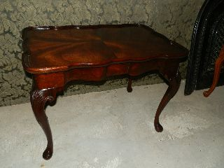 Wonderful Antique Coffee Table Carved Legs And Raised Apron photo