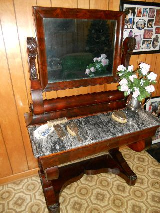 Unique French Antique Vanity With Tilt Mirror photo