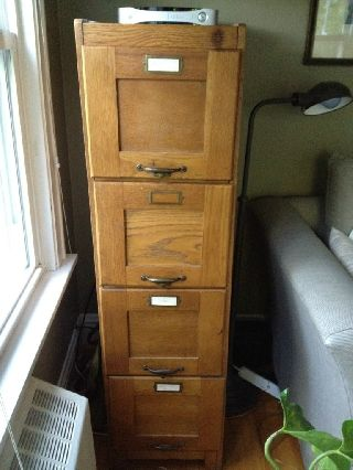 Antique 4 Drawer Quartersawn Oak File Cabinet - Local P/u - - Oak Park photo