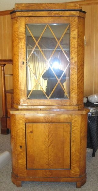 Auth Antique Biedermeier Corner Cabinet - photo