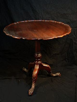 Antique Mahogany Piecrust Tilt Top Table With Carved Feet photo