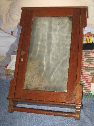 Antique Victorian Wooden Medicine Cabinet,  Mirror,  Single Door,  2 Glass Shelves photo