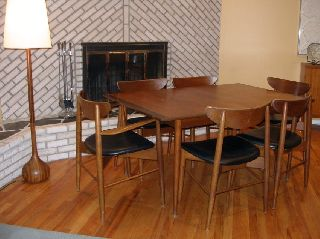 Chic Danish Mid Century Modern Walnut Dining Room Set W.  6 Chairs & 3 Leaves photo