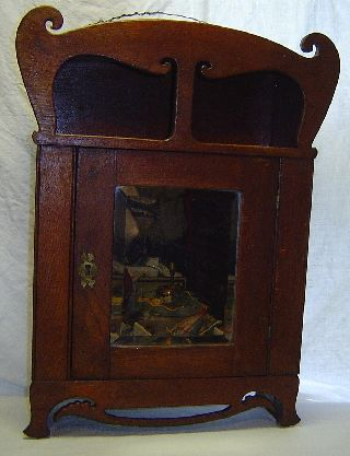 Antique Arts Crafts Nouveau Oak Wall Medicine Cabinet W/ Mirror Finish photo
