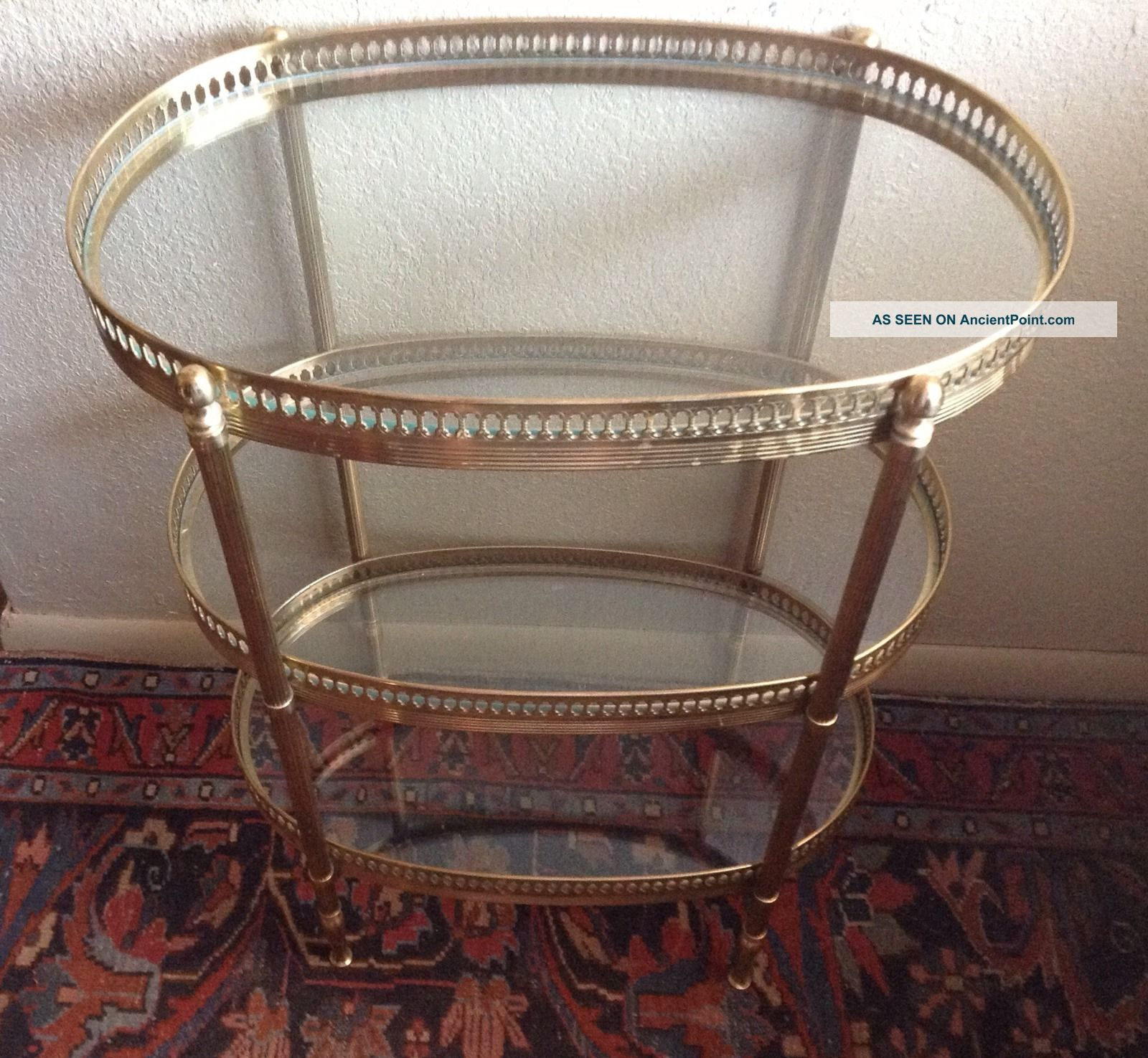 Vintage Hollywood Regency Modern Brass & Glass 3 Tier Side Table Gallery Post-1950 photo