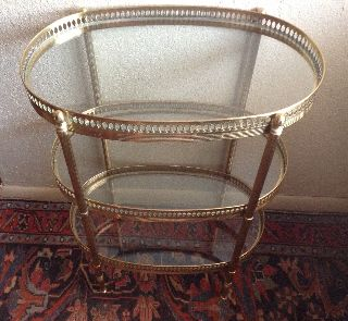 Vintage Hollywood Regency Modern Brass & Glass 3 Tier Side Table Gallery photo