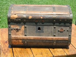 Antique 4 Brass Band Jenny Lind Trunk Chest photo