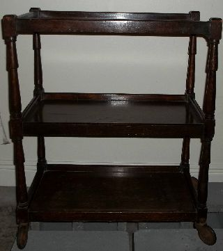 Vintage Antique Three - Tier Tea Cart / Oak Table / Euc photo