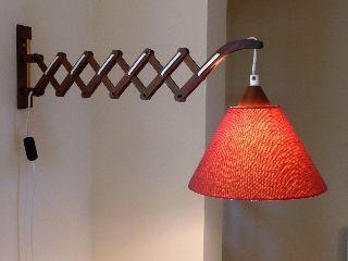Vintage 1960s Danish Scissor Wall Lamp Mid Century Teak Wegner Modern 50s 70s photo