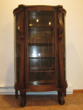 Ebert Furniture Co.  Antique Bowfront Oak China Curio Cabinet Glassware photo