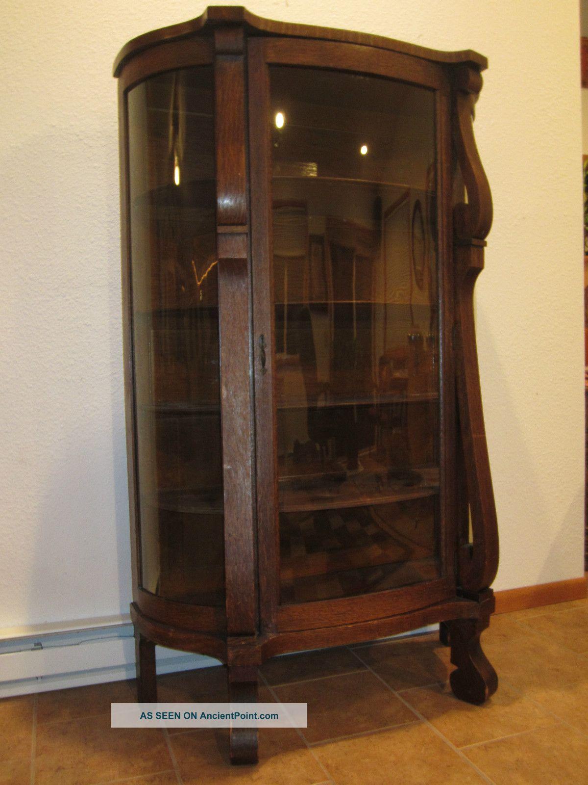 Antique Bowfront Oak China Curio Cabinet Glassware - Ebert Furniture Co.  Antique Bowfront Oak China - Antique Curio Cabinets Antique Furniture