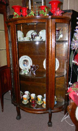 Antique 1900 Qtr Oak Claw Ft Curved Glass China Cabinet photo