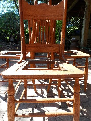 Set 4 Pressed Back Quarter Sawn / Tiger Oak Chairs Antique photo