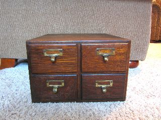 Tiger Oak 4 Drawer Index Card Library Catalog File Parts Hardware Cabinet Macey photo