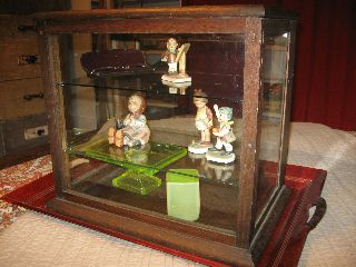 Wonderful Antique Oak Table~top Display Case~ Glass Sides~14 3/4