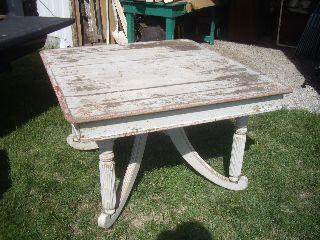Vintage Shabby Painted Oak Table photo