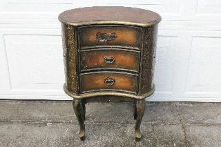 Antique Baroque Embossed Metal And Wood Side Table photo