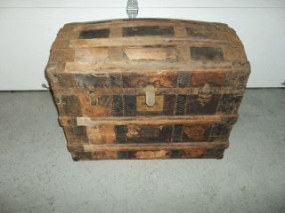 Antique Dome Top Steamer Trunk (condition) photo