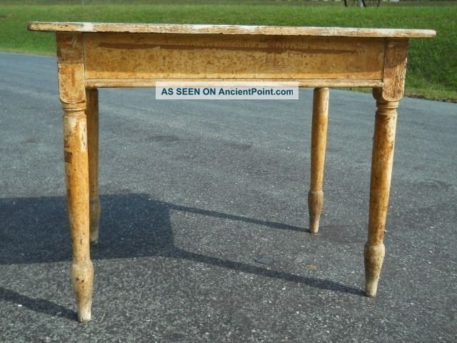 Antique Sheraton Revival Small Farm Table ~ Layers Old Paint ~ Central Virginia 1900-1950 photo