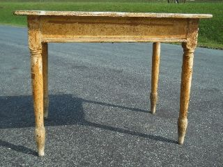 Antique Sheraton Revival Small Farm Table ~ Layers Old Paint ~ Central Virginia photo