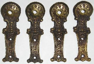 (4) Vintage Brass Furniture Legs (5 1/4
