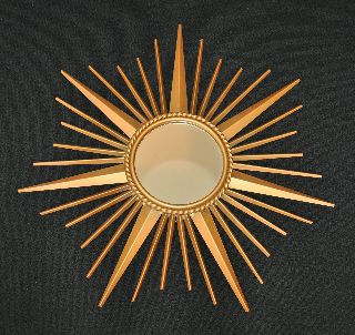 Antique 1950 - 1960 S Chaty Vallauris French Metal Sunburst Mirror photo