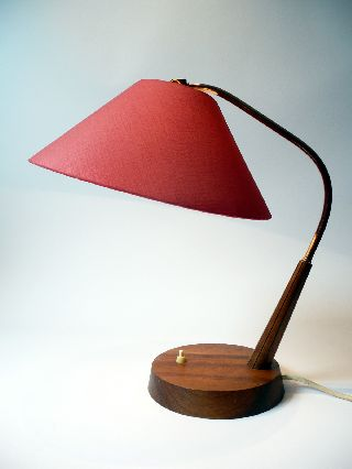 Vintage 1970s Teak Table / Desk Lamp Mid Century Wegner Danish Modern 50s 60s photo