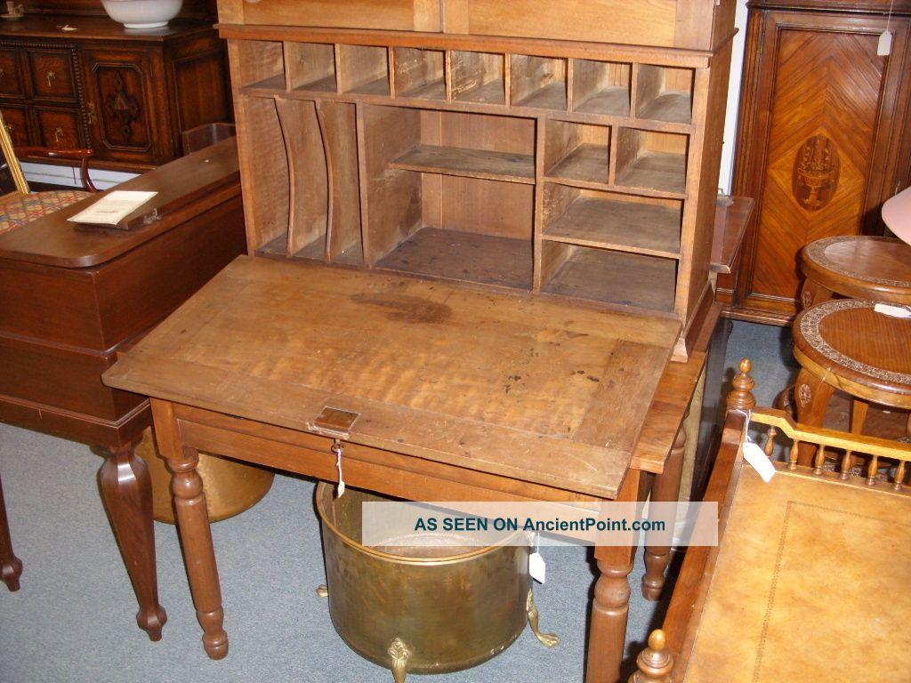 - Old Tall Walnut Plantation Desk With Wavy Glass 2 Piece Antique
