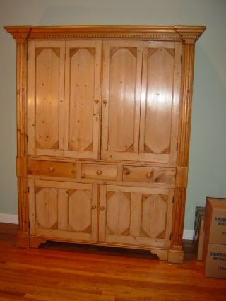 Antique English Pine Armoire photo