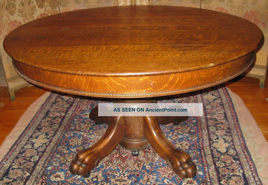 Victorian Oak Dining Room Banquet Table Claw Foot Leafs 1900-1950 photo