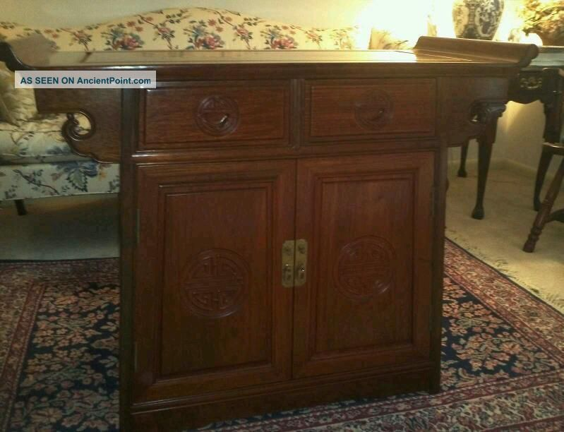 Vintage Chinese Rosewood Alter Table / Cabinet ~ Buffet / Entry Chest ~ Estate Unknown photo