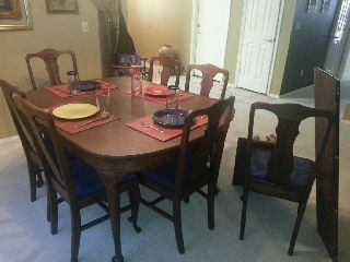 Antique Dark Wood Dining Table W/7 Chairs,  Custom Pads,  Extension photo