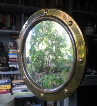 Vintage Brass Concave Mirror photo