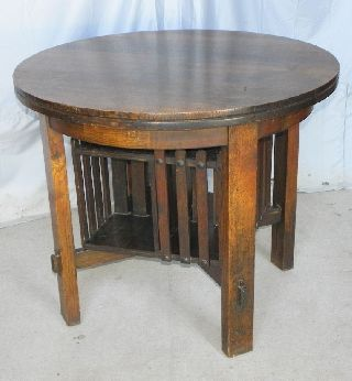 Antique Mission Oak Center Table With Revolving Bookcase photo