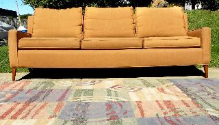Sofa Walnut Legs Mid Century Modern 1960 ' S (milo Baughman Inspired) 3 Seater photo