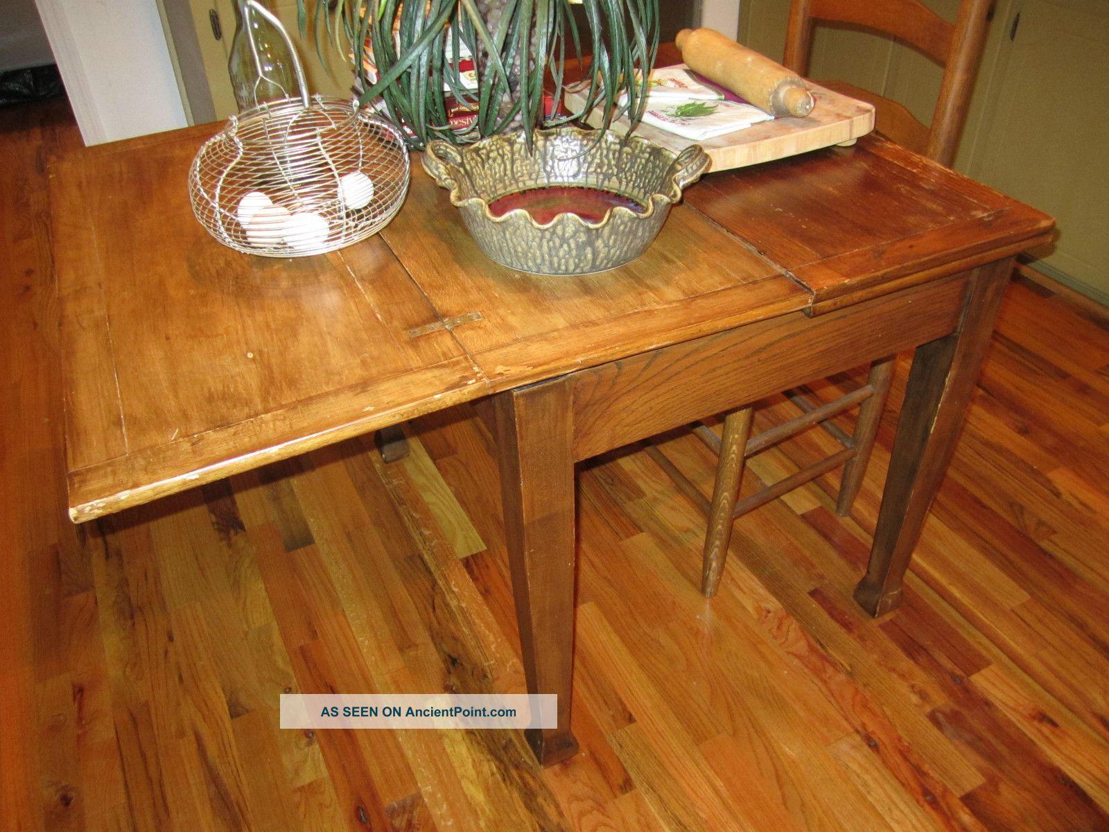Antique English Pub Table Solid Oak Drawleaf/folding L@@k 1900-1950 photo
