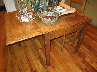 Antique English Pub Table Solid Oak Drawleaf/folding L@@k photo