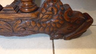 19th Century Carved Oak Green Man Lion Hall Table Desk Dolphin Feet Gothic photo