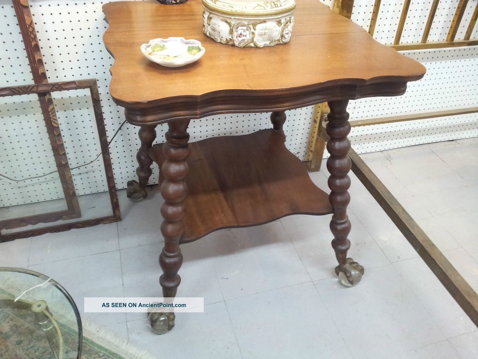 Pair Of Antique Oak,  Eagle Ball And Claw Parlor Tables 1800-1899 photo