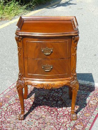 Antique Flame Mahogany Ball & Claw Chippendale Nightstand photo