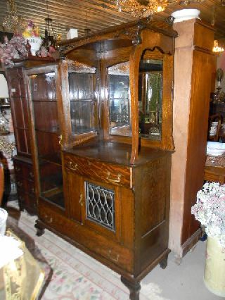 Antique 1900 Qtr Oak Side By Side China Cabinet Buffet photo