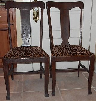 Antique Pair Oak T Back Chairs Set Of Side Chairs Wood Chair Table Chairs photo