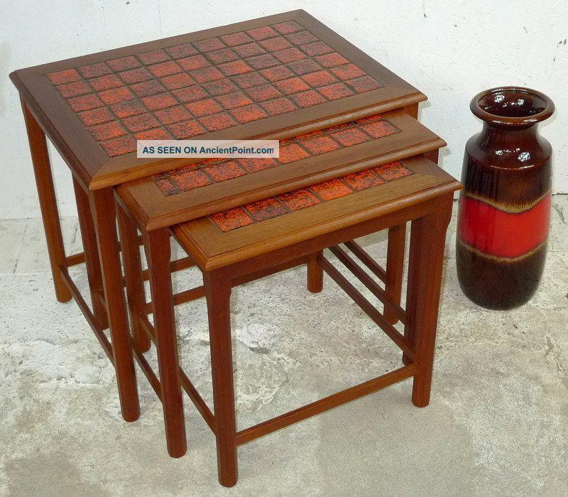 Modern Danish Design - Teak Nesting Tables With Tiles - Panton Era Post-1950 photo
