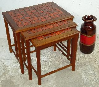 Modern Danish Design - Teak Nesting Tables With Tiles - Panton Era photo
